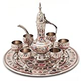 Jaipur Crafts White Metal Antique Royal Wine Set Handicraft Wine Set