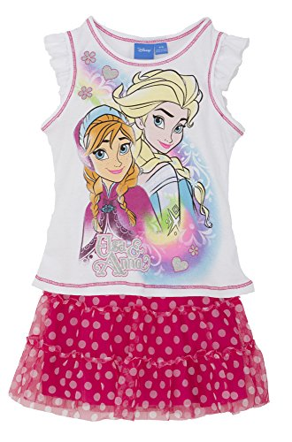 (9526Fgds) Frozen Little Girls Prism Glitter Top And Skirt 2 Piece Set In White/Red Size: S (4/5)