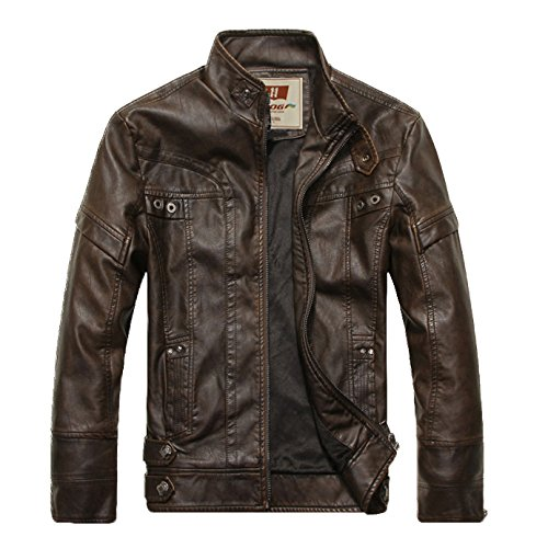 Fairy Season Warm Thick Men'S Leather Motorcycle Stand Collar Jacket Coat Meidum Brown