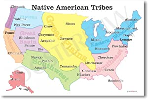 Native American Tribes Map - US History Classroom School Poster