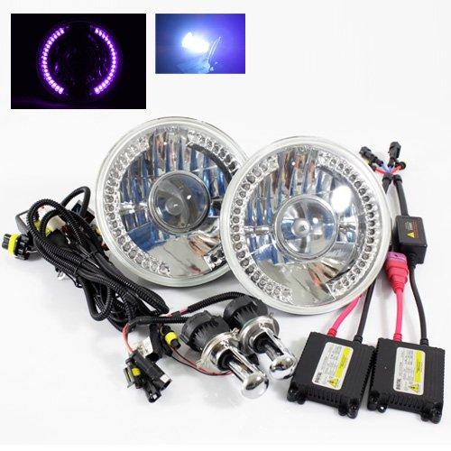 "10000K Deep Blue Bi-Xenon Slim Hid/7"" Round 6014/6015/6024 Chrome Projector Headlights With Purple Led Ring"