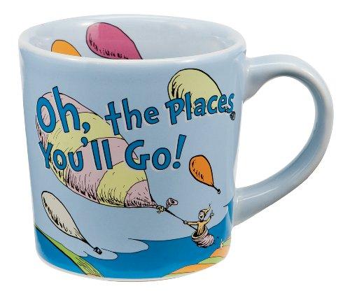 Vandor 17061 Dr.Seuss Ceramic Mug Oh The Places, Blue, 12-Ounce