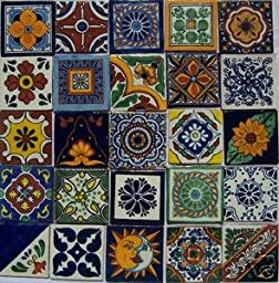25 Hand Painted Talavera Mexican Tiles 4\