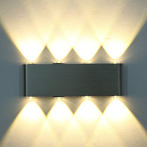 Deckey LED Lampada Da Parete Applique Moderno Per Illuminazione Luce Effetto Da Interno 6W/ 8W/ 18W, Bianco Caldo/ Bianco Freddo (Caldo 8W)