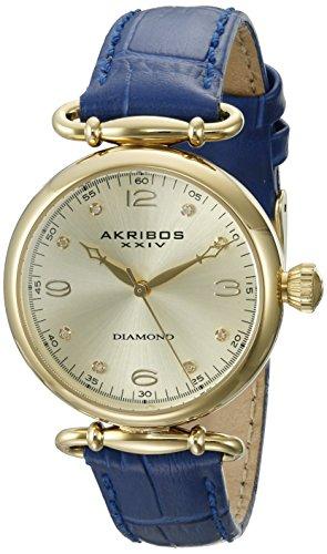 Akribos XXIV Women's Round Champagne Dial Three Hand Quartz Blue Strap Watch