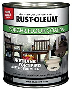 Rust-Oleum 244163 Porch Floor Paint, Gray Semi-Gloss, 1-Quart