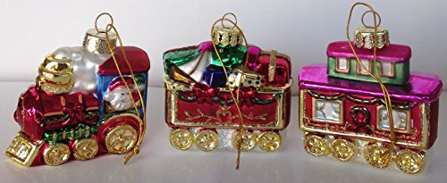 3-piece Christmas Train Handpainted Glass
