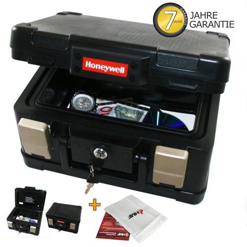 Feuerfeste- Wasserdichte Dokumentenkassette inkl. feuerfeste Schutztasche! Dokumentenbox Geldkassette, Original Honeywell Format DIN A5!