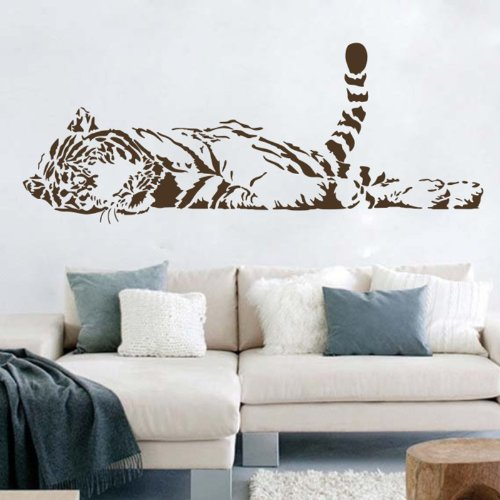 Animal Wild Zoo Lying Tail up Tiger Wall Decal Sticker Living Room Stickers Vinyl Removable Brown Color Left