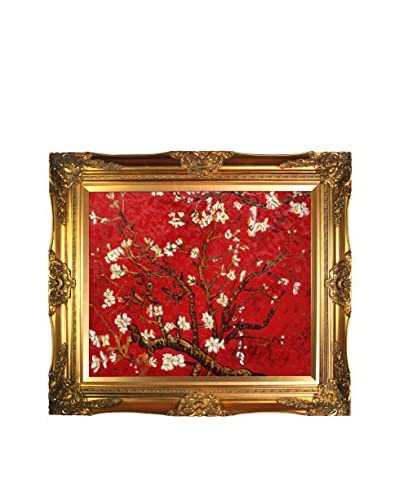 """Vincent Van Gogh """"Branches Of An Almond Tree In Blossom (Red)"""" Framed Hand-Painted Reprodu..."""