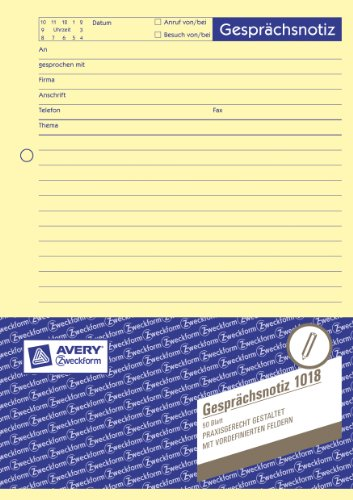 Avery Zweckform Gesprächsnotiz, Liniert, Gelocht Gesprächsnotiz A5 Ge 50Blatt