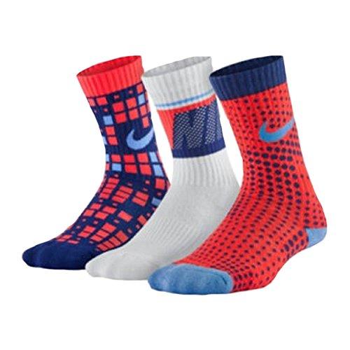 Nike Big Boys' Performance Square/Dots Crew Socks 3 Pack (Small, Lava/Blue/White)