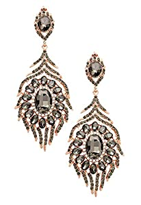 Rosemarie Collections Women's Floral Crystal Rhinestone Evening Earrings Black