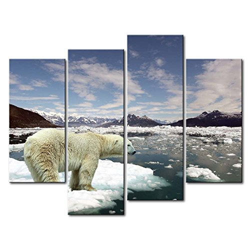 4 Panel Wall Art Painting Polar Bear In A Small Ice Pictures Prints On Canvas Animal The Picture Decor Oil For Home Modern Decoration Print For Items