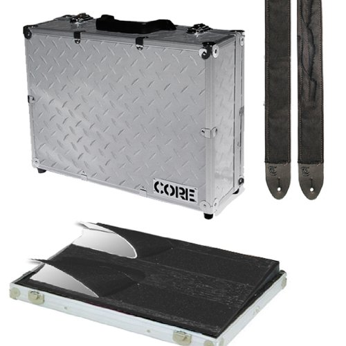 Core Equipment Diamond Plate Wood Pedal Board Case with Detachable Lid and Trench Guitar Strap Combo