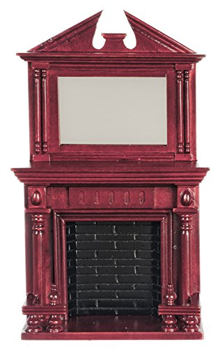 Dollhouse Miniature Wooden Furniture Mahogany Fireplace with Mantle Mirrror (Dollhouse Furniture Fireplace compare prices)