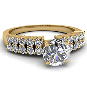 1.10 Ct Round Cut Diamond Engagement Wedding Ring Pave Set Gold H-Color 14K GIA Certificate # 6162269692