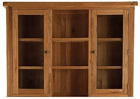 Pembroke oak furniture large dresser top with glass doors