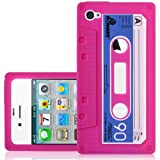 CNL PINK CASSETTE TAPE SILICONE SKIN COVER CASE FOR APPLE IPHONE 4 / 4S MOBILE PHONE