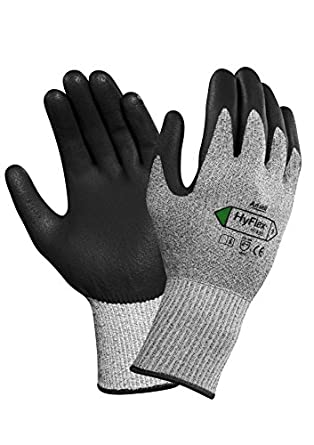 Ansell HyFlex 11-435 Nylon Medium-Duty Cut Protection Glove with Dyneema Knitwrist, Abrasion/Cut Resistant, Size 6, Gray (Pack of 12 Pair)