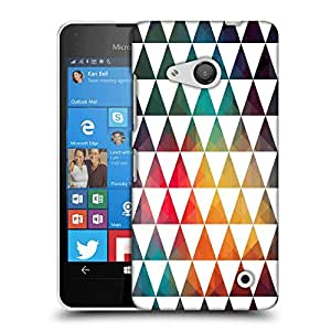 Snoogg White Triangles Designer Protective Phone Back Case Cover For Nokia Lumia 550