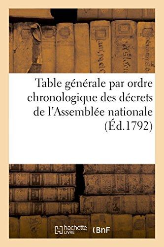 Table Générale Par Ordre Chronologique Des Décrets de lAssemblée Nationale (Sciences Sociales)  [Sans Auteur] (Tapa Blanda)