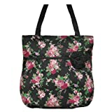 Floral Canvas Fashion Shoulder Bag Black & Pink