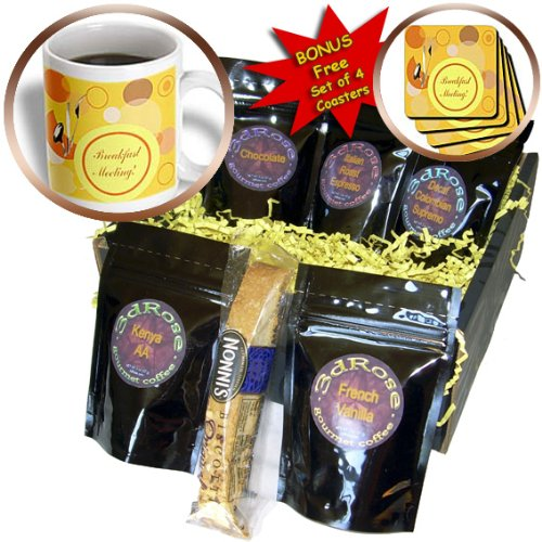 Cgb_43323_1 Beverly Turner Business Design - Breakfast Meeting, Spoon, Knife And Fork On Dots, Business - Coffee Gift Baskets - Coffee Gift Basket