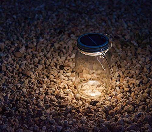 LEDemain® Lampada a Energia Solare 4 lampadine LED Colore Bianco Caldo Lanterna in Vetro con Gancio Lampada da Tavolo Esterna