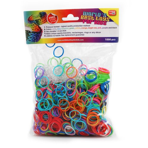 1000 Pcs Rainbow Loom Rubber Bands Refill - 50 S-clips + 50 C-clips Free - Variety - All Colors - Refills - Custom Bracelet - 100% Compatible with All Looms - Extremely High Quality Band - Free Best L