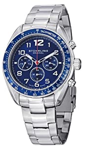 Stuhrling Original Monaco Concorso Dragster Men's Quartz Watch with Blue Dial Analogue Display and Silver Stainless Steel Bracelet 814.02