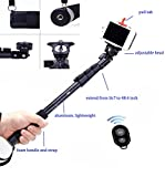 LEAPCAMA(TM) New Design Profesional Self Portrait Monopod Selfie Stick With Phone Holder For Samsung iPhone Blackberry With Bluetooth Remote Camera Wireless Shutter (Self Locking Alluminum Monopod)
