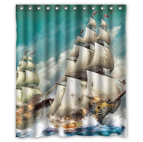 Shower curtain read reviews here calm waters waterproof shower curtain