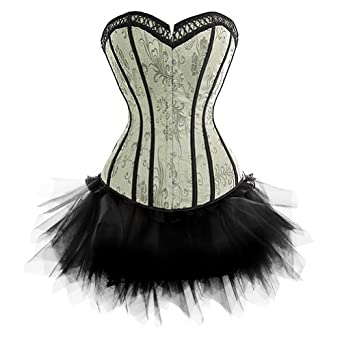I-Glam Women's Strapless Corsets Lace Up Boned Bustier and Black Tutu Skirt Green XXL