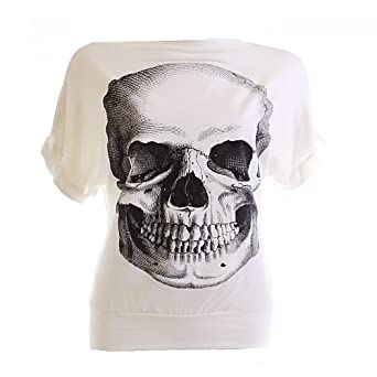 Ladies Glitter Skull Design Top Tshirt Cap Sleeve Long Top White