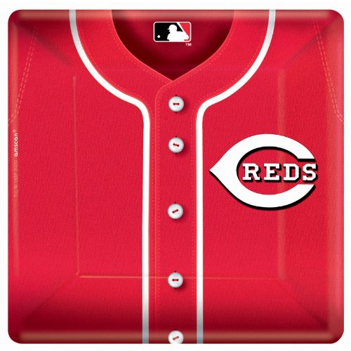 Cincinnati Reds Baseball - Square Banquet Dinner Plates Party Accessory