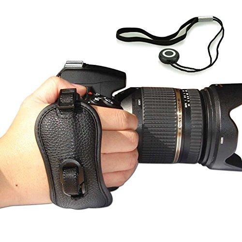 First2savvv OSH0402G14 Professionelle Leder Hand Grip Kamera Handschlaufe für Nikon D4S SONY A77 II SAMSUNG Galaxy NX WB1100F NX1 NX30 panasonic LUMIX DMC-FZ1000EB DMC-FZ200 LUMIX DMC-FZ70 Sony Alpha 77 M2 DSLR ILCA-77M2 Alpha 77 M2 DSLR ILCA-77M2Q a7S ILCE-7S PENTAX K-r Pentax K-30 K-5 II K-5 Iis K-3 X5 645D 645 Z Canon EOS 7D Mark II PowerShot SX60 HS EOS 7D Mark II PowerShot SX60 HS Nikon D750 mit Objektivdeckel Seil
