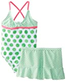 Baby Buns Girls Infant 1 Piece Swimsuit with Skirt Dotty Illusion, Green, 12 Months