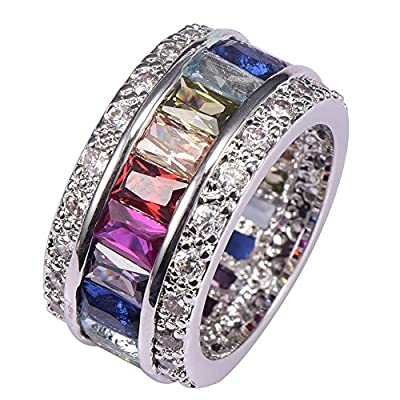 Morganite Blue Topaz Garnet Amethyst Ruby Pink Kunzite Aquamarine 925 Sterling Silver Ring Size 6 to 12