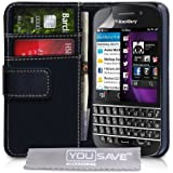 Blackberry Q10 Case Black PU Leather Wallet Cover