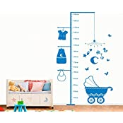UberLyfe Pigmented Polyvinyl Decal Height Chart For Kids With Pram, Cute Clothes And Gift Box Wall Sticker (Wall...