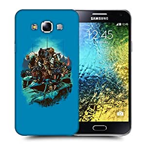 Snoogg Blue Background with Monsters Designer Protective Back Case Cover For SAMSUNG GALAXY E5
