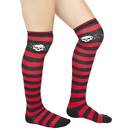 Red & Black Striped Bat Skull Thigh High Socks from Sourpuss Clothing