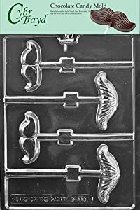 Cybrtrayd D112 Mustache Assortment Lolly Chocolate Candy Mold with Exclusive Cybrtrayd... by CybrTrayd