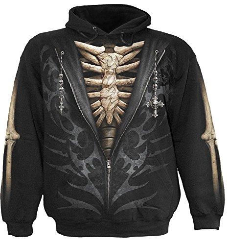 Spiral Unzipped felpa con cappuccio felpa con cappuccio-shirt scheletro ltext