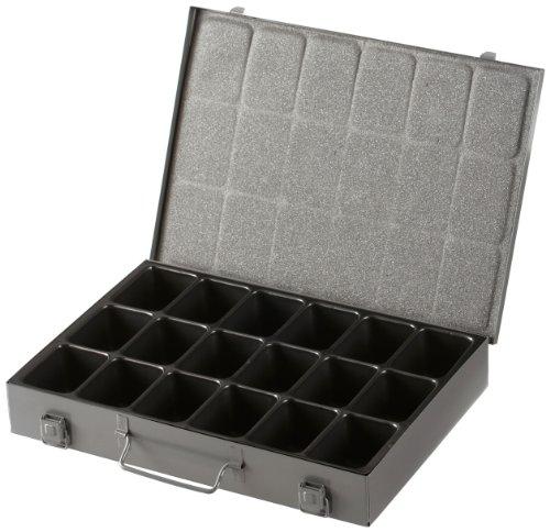 Aufbewahrungskoffer aus Metall,18 Fächern, herausnehmbare Kunststoff-Ablage, Farbe: grau