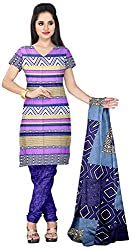 Prafful Women's Crepe Unstitched Dress Material (Cream and Purple)