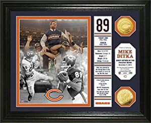 Chicago Bears Mike Ditka Jersey Retirement Banner Gold Coin Photo Mint by Highland Mint