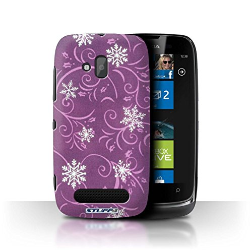 Stuff4 Hülle / Hülle für Nokia Lumia 610 / Rosa Muster / Schneeflocke-Muster Kollektion
