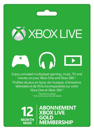 Microsoft Xbox Live Subscription Card For Xbox 360 Xbox One 12 Month Mois